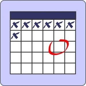 Calendar Blue X Circle