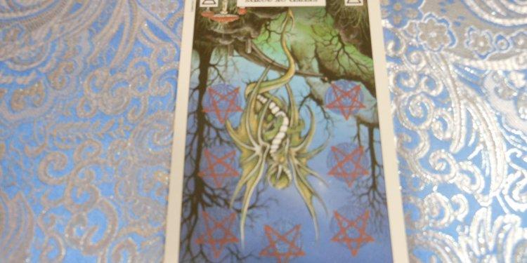 Tarot Card Seven Coins Inverted - Image: © Briana Blair