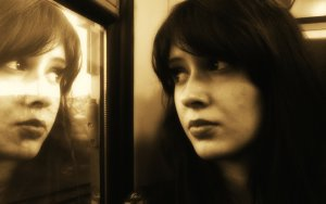 Woman Face Reflection Sad