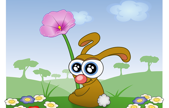 Happy Rabbit Flowers Cute Cartoon - Image: Public Domain, Pixabay