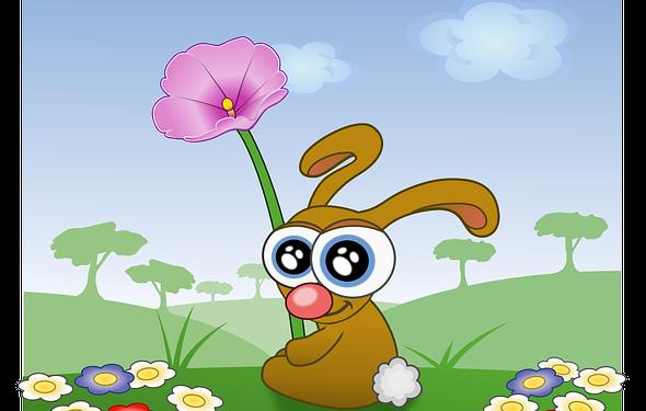 Happy Rabbit Flowers Cute Cartoon - Image: Public Domain, Pixabay