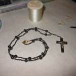 Hematite and Gold Crucifix Set WIP 5 - Image: © Briana Blair