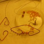 Wire Wrapped Rose Bead Earrings WIP 3 - Image: © Briana Blair