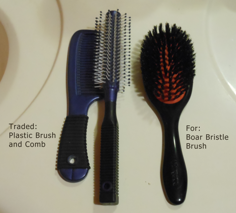 Trading Plastic Brush and Comb for Boar Bristle Brush - Image: © Briana Blair