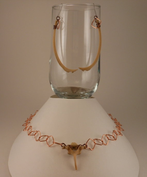 Formed Wire Copper Chain with Groundhog Bones Necklace and Earring Set - © Briana Blair