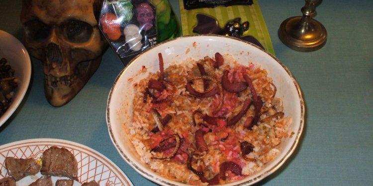 Halloween Food Gross Rice Worms - © Briana Blair