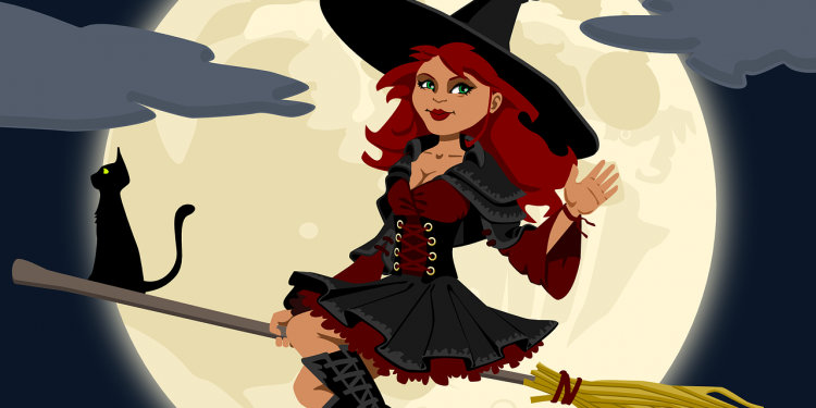 Witch Woman Flying Cat Moon Broom halloween - Image: Public Domain, Pixabay