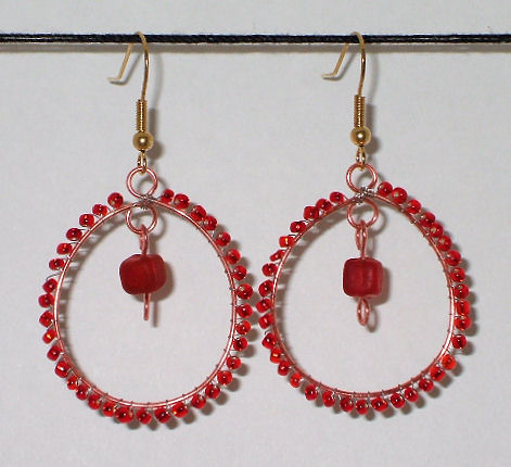 Bead Wrapped Hoop  Earrings Jewelry - © Briana Blair