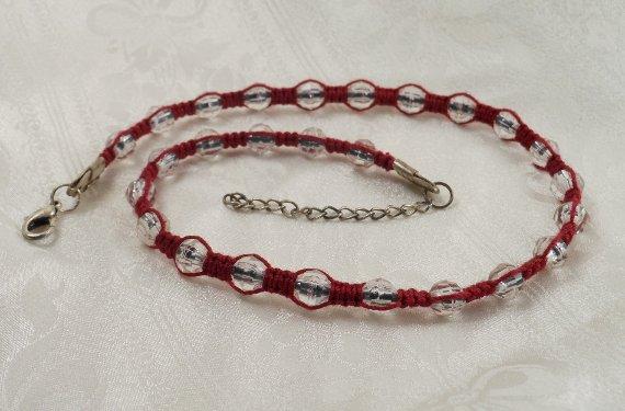 Red Macrame crystal Necklace Choker - © Briana Blair