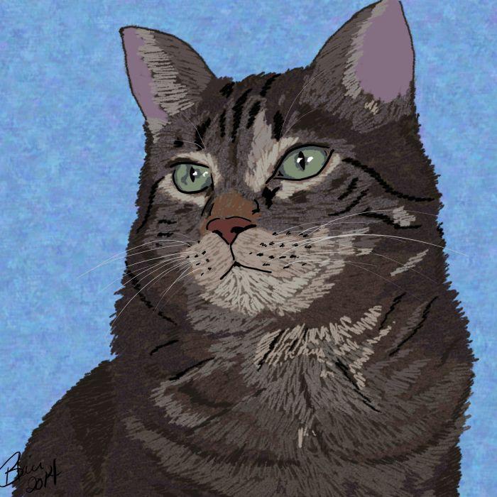 Cat digital sketch - © Briana Blair