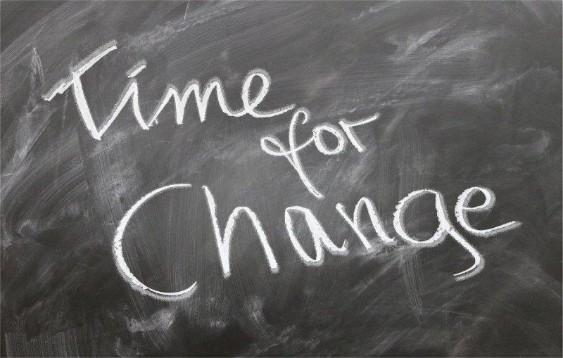 Time for Change chalkboard writing - Image: Public Domain, Pixabay
