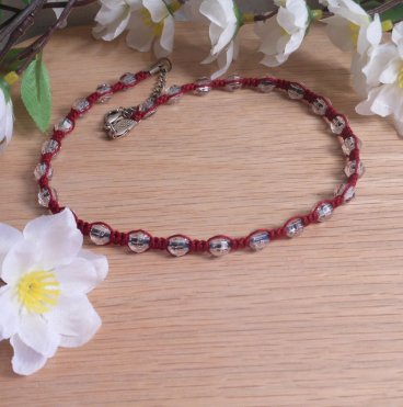 Red Macrame Necklace Faceted Beads and Silver Clasp