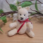 Amigurumi Kawaii Cream Teddy Bear White Red Ribbon Cute Crocheted Figure