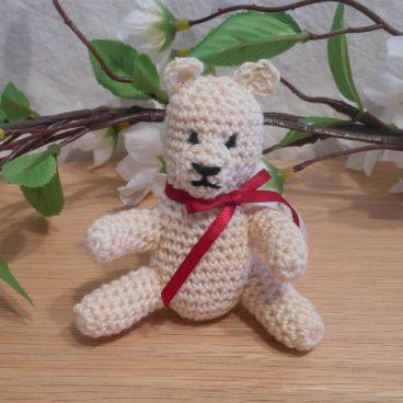 Amigurumi Kawaii Cream Teddy Bear White Red Ribbon Cute Crocheted Figure