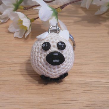 Amigurumi Kawaii Sheep Lamb White Cream Cute Crocheted Keychain