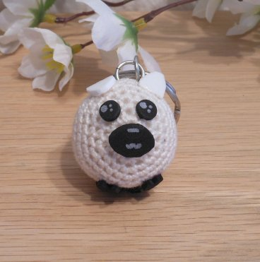 Amigurumi Kawaii Sheep Lamb White Cream Cute Crocheted Keychain