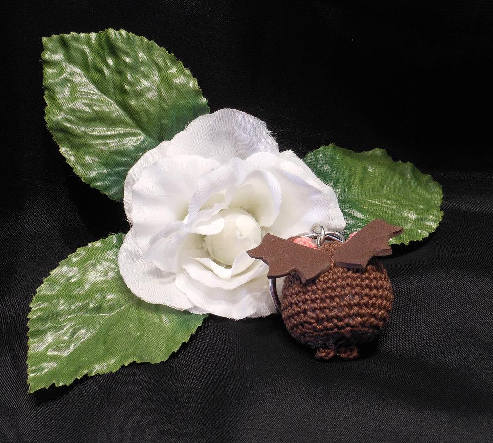 Amigurumi Kawaii Vampire Bat Desmodontinae Brown Cute Crocheted Keychain