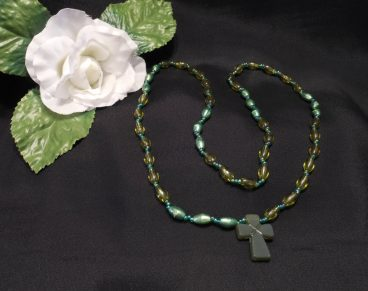 Beaded Cross Necklace Two Shades Green Oval Beads Religious Christian Spiritual