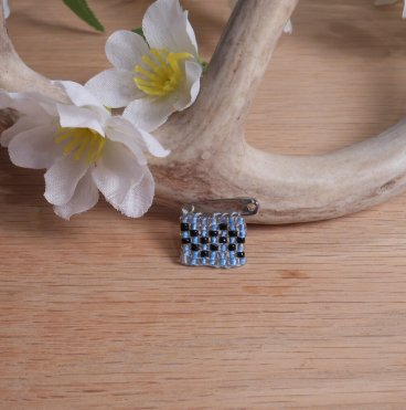 Beaded Pin Blue Aquarius Zodiac Astrology Safety Pin Bead