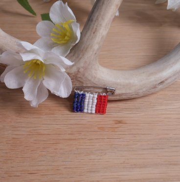 Beaded Pin Red White Blue French Flag Safety Pin Bead