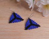 Blue Black Triangle Peyote Stitch Beaded Earrings