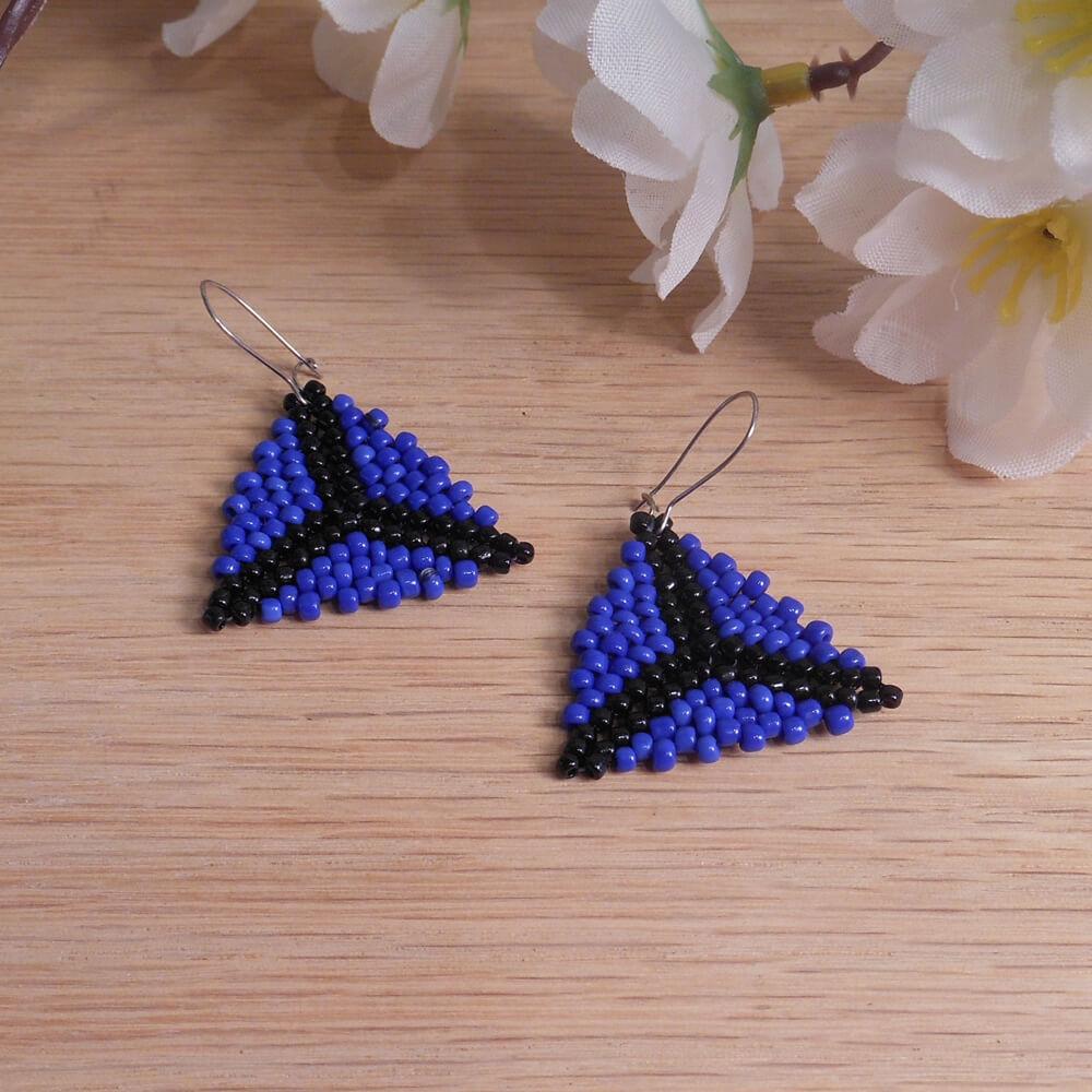 Blue Black Triangle Peyote Stitch Beaded Earrings