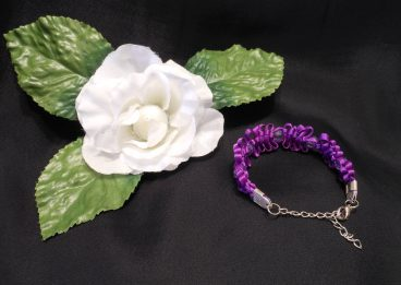 Bracelet Macrame Knots Purple Violet Satin and Acrylic Faceted Beads With Streling Silver Chain Closure
