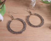Brass Hoop Earrings Double Weave of Beads