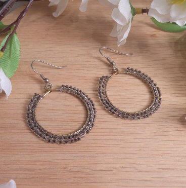Brass Hoop Earrings Double Weave of Beads