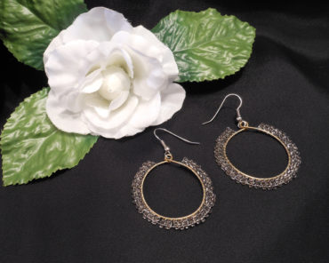 Brass Hoop Earrings with Double Weave of Beads