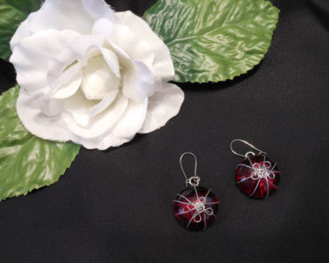 Bright Red Stone Earrings with Wrapped Wire Flower Design