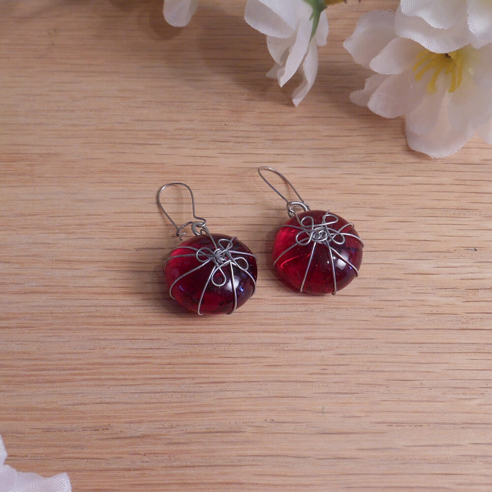 Bright Red Stone Earrings Wrapped Wire Flower Design