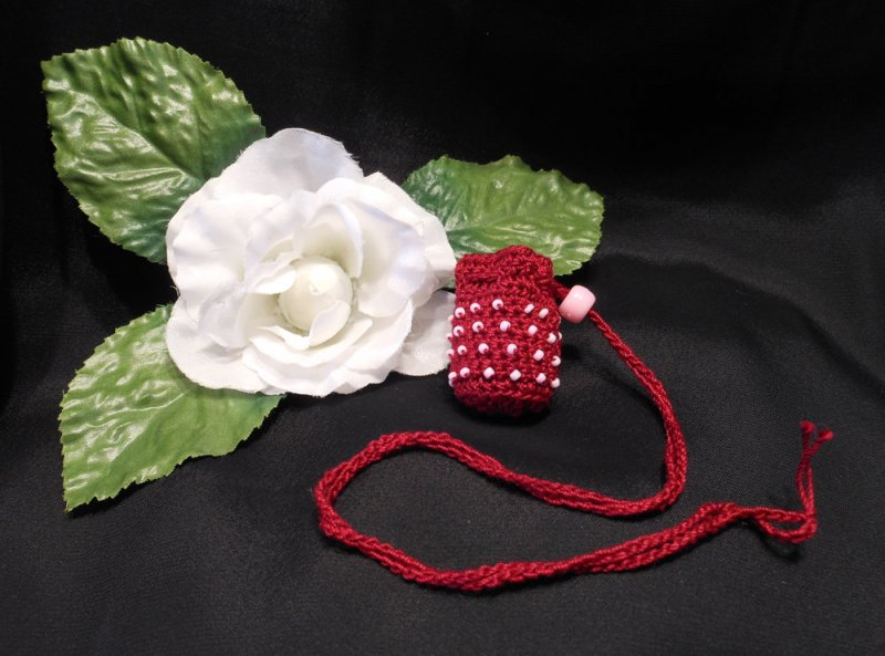 Burgundy Crocheted Amulet Bag Necklace with Pink Glass Beads Medicine Pouch Talisman Bag Mojo Bag