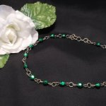 Choker Necklace Metallic Green Faceted Beads Steel Chain Link Hand Formed Clasp