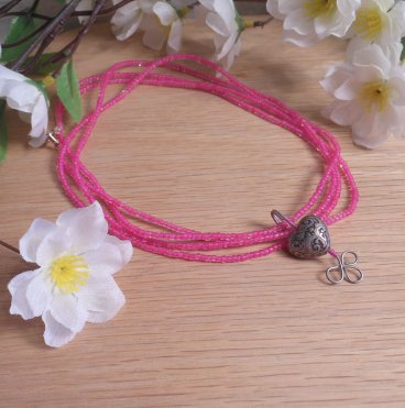 Convertible Necklace Bracelet Charm Hot Pink Beads Carved Steel Heart