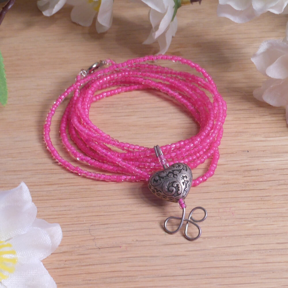 Convertible Necklace Bracelet Charm Hot Pink Beads Carved Steel Heart wrapped