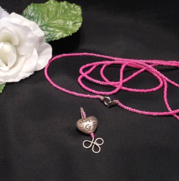 Convertible Necklace Bracelet with Charm Hot Pink Beads Carved Steel Heart