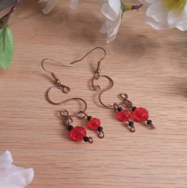 Copper S Shaped Dangle Wire Earrings Red and Black Accent Beads