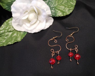 Copper S Shaped Dangle Wire Earrings with Red and Black Accent Beads
