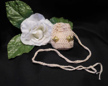 Cream Crocheted Amulet Bag Necklace with Gold Color Diamond Shape Acents Medicine Pouch Talisman Bag Mojo Bag