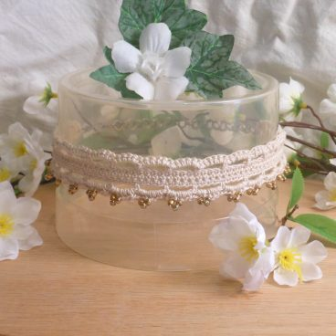 Crocheted Ivory Choker Gold Beads and Hand Formed Chain