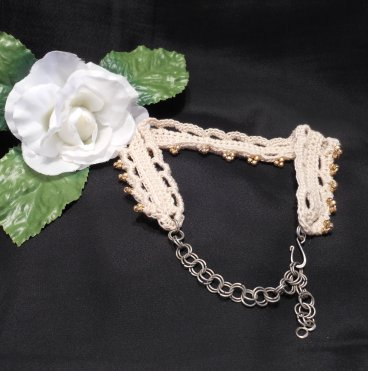 Crocheted Ivory Choker with Gold Beads and Hand Formed Chain