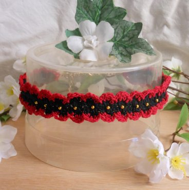 Crocheted Red Black Choker with Gold Beads