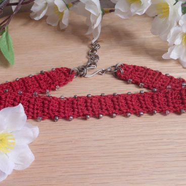 Crocheted Red Choker Silver Beads 2