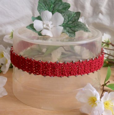 Crocheted Red Choker Silver Beads