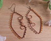Dark Copper Gold Amber Beaded Wire Wrap Hoop Dangle Earrings Roses