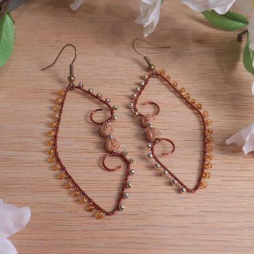 Dark Copper Gold Amber Beaded Wire Wrap Hoop Dangle Earrings Roses