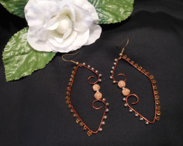 Dark Copper Gold Amber Beaded Wire Wrap Hoop Dangle Earrings With Roses