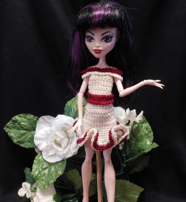 Doll Dress Red and Cream Crocheted Monster Fashion Doll Outfit Lace-up Party Dress