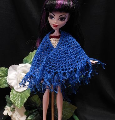 Doll Shawl Bright Blue Crocheted Monster Fashion Doll Wrap Accessory